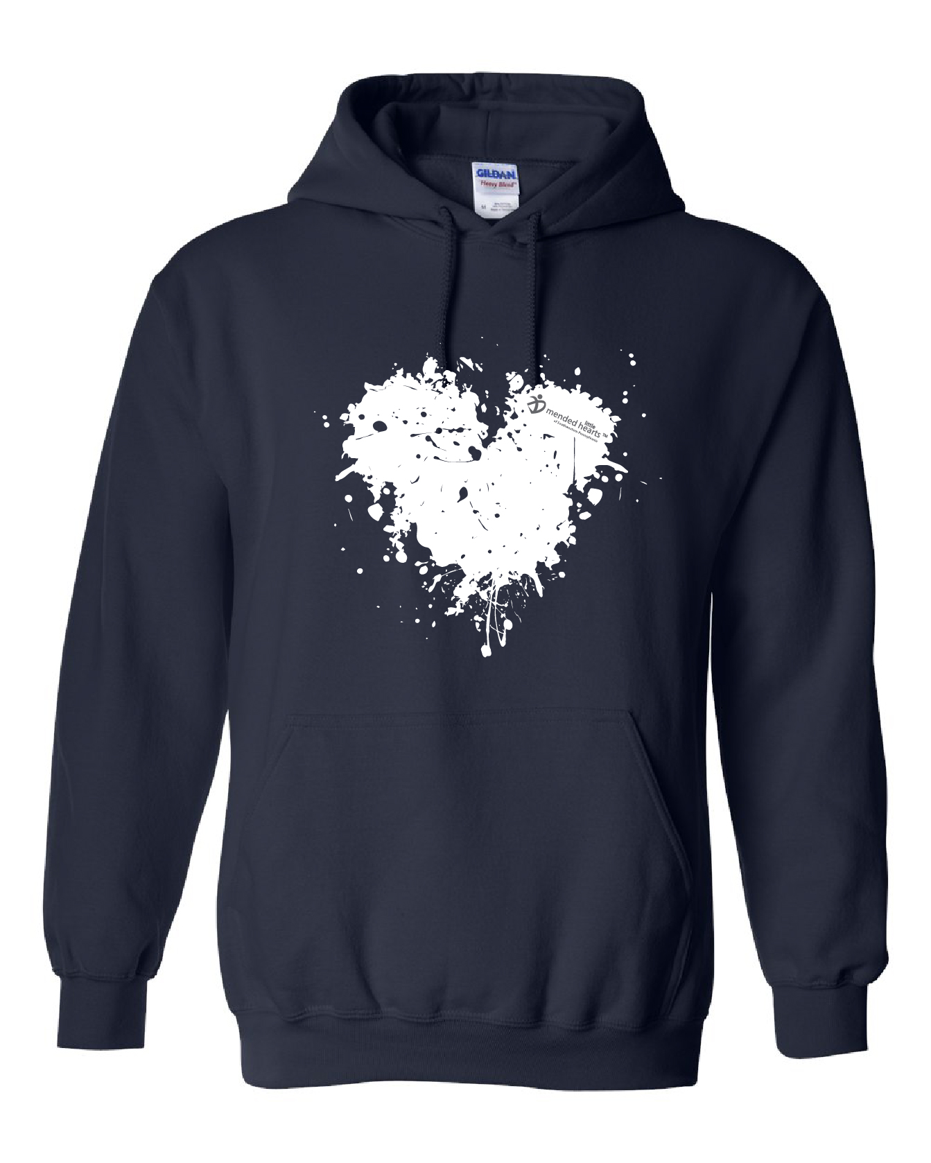 Splatter Heart Hooded Sweatshirt Available in Navy or Dark Heather