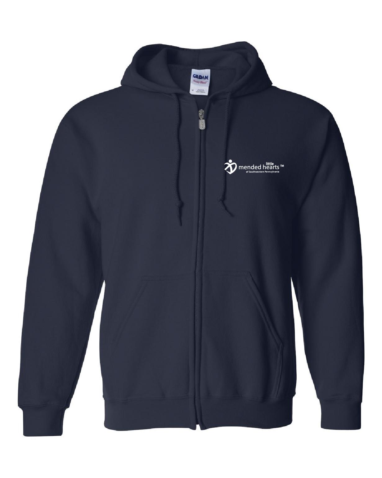 Splatter Heart Zip-Up Hooded Sweatshirt Available in Navy or Dark Heather