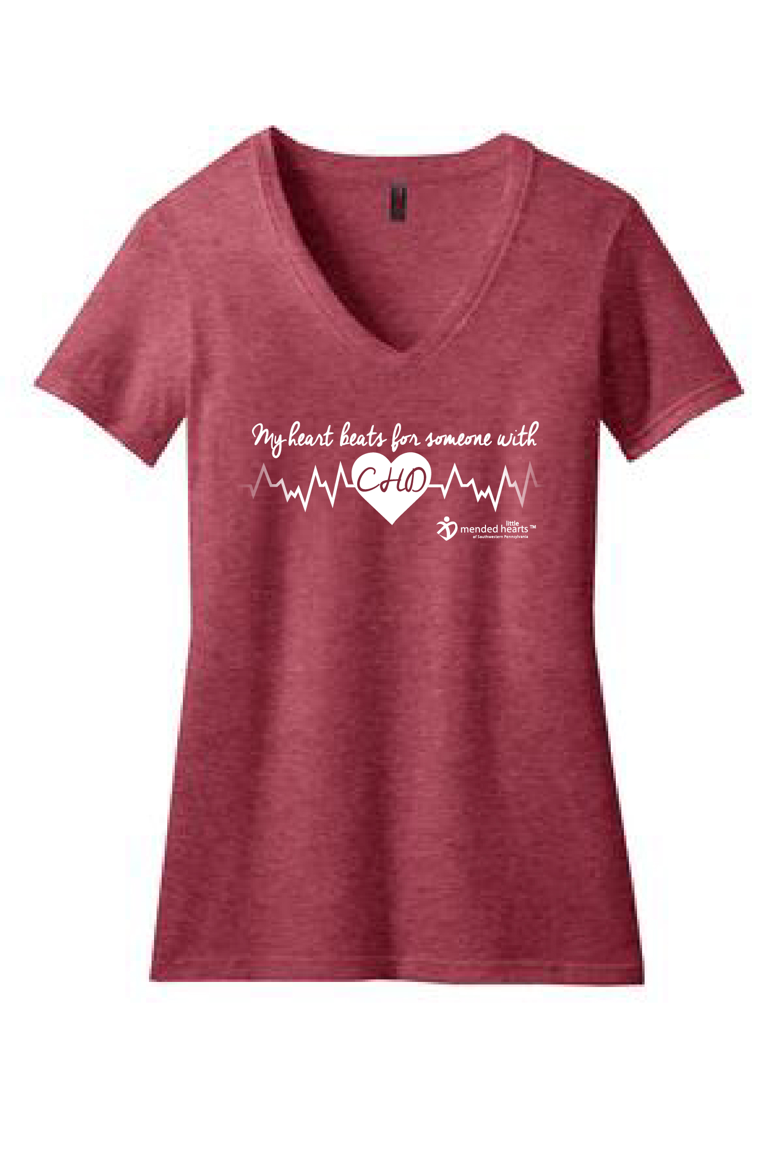 My Heart Beats for Someone with CHD, Ladies' V-Neck, Available in Multiple Colors!